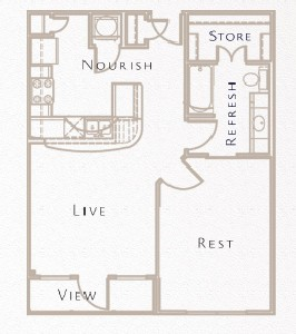 688 sq. ft. A4 floor plan