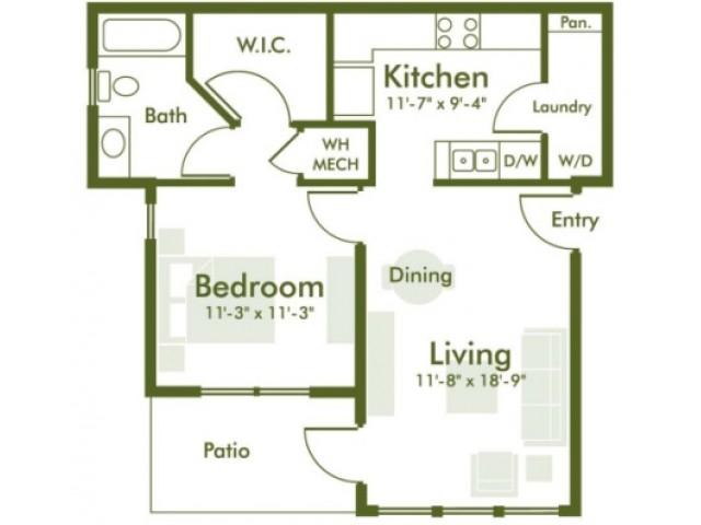 722 sq. ft. floor plan