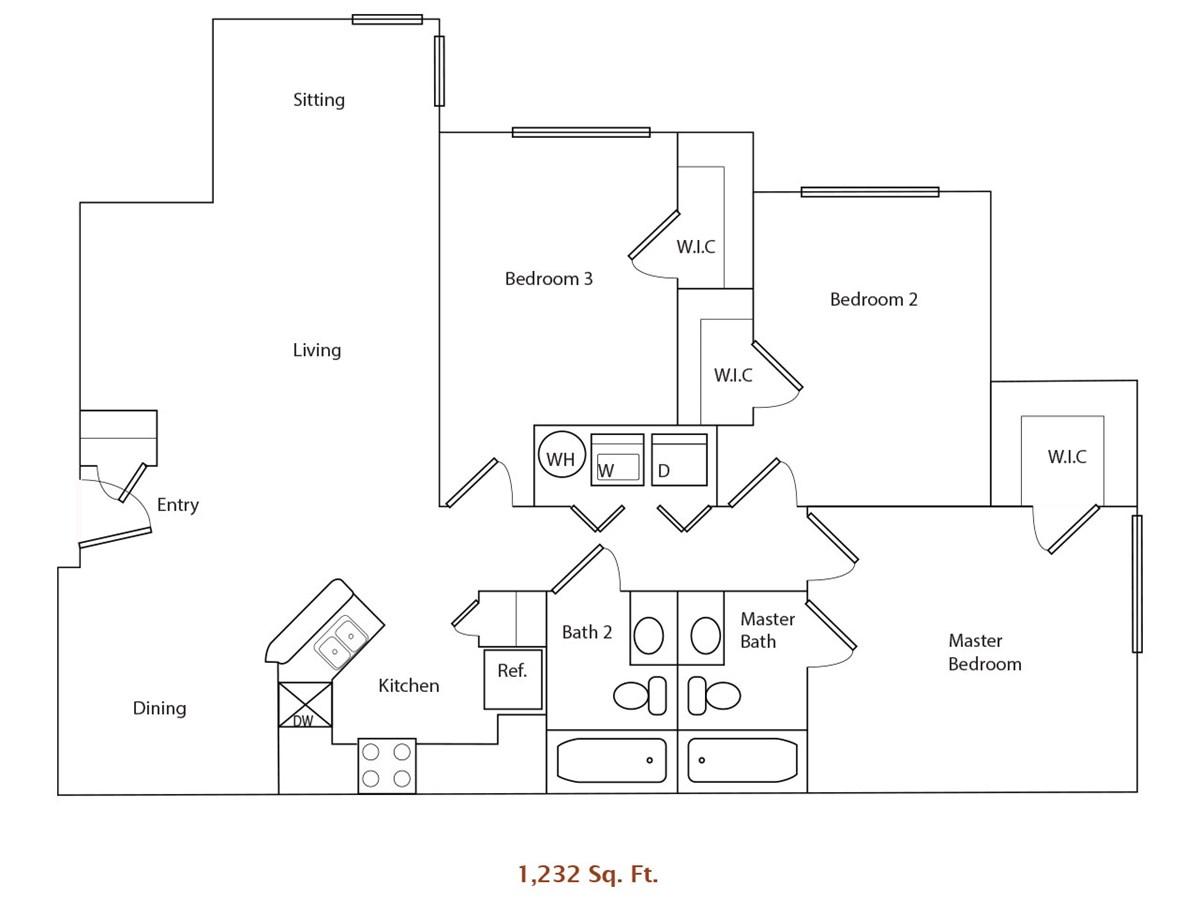 1,232 sq. ft. 60% floor plan