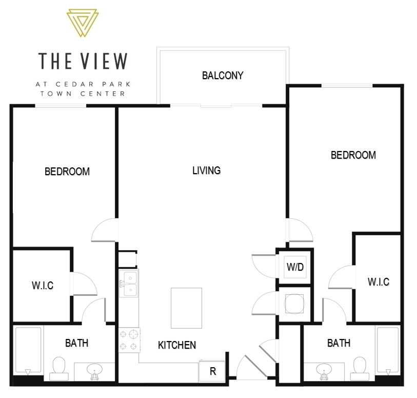 1,025 sq. ft. B1 floor plan
