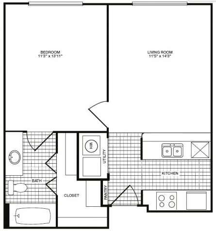 579 sq. ft. floor plan