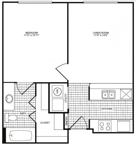 579 sq. ft. floor plan