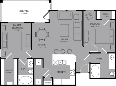 1,045 sq. ft. Hampton floor plan