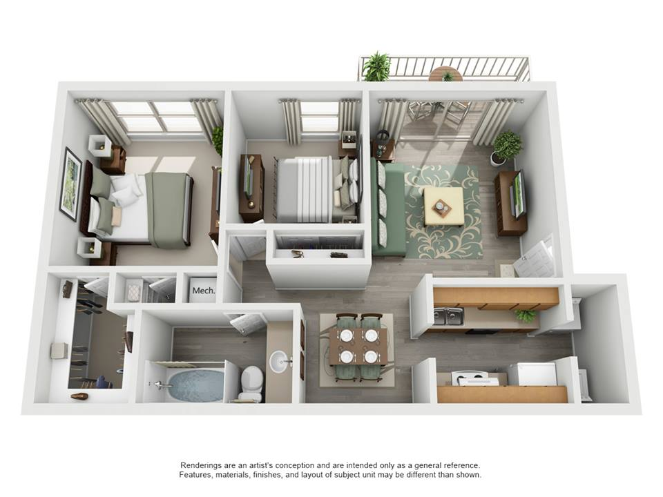 853 sq. ft. E -  Waterstone floor plan