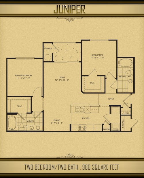 980 sq. ft. JUNIPER floor plan