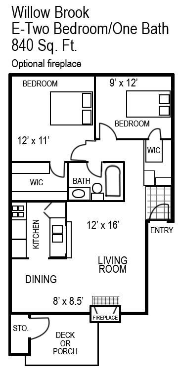 840 sq. ft. E/E1 floor plan