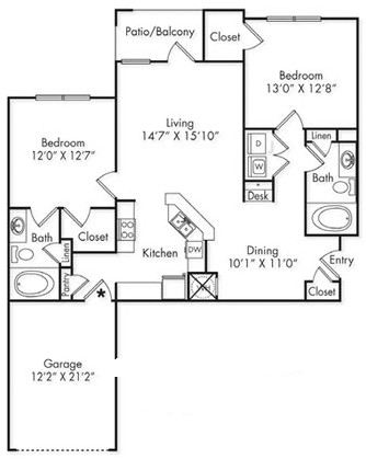 1,186 sq. ft. B1-G floor plan