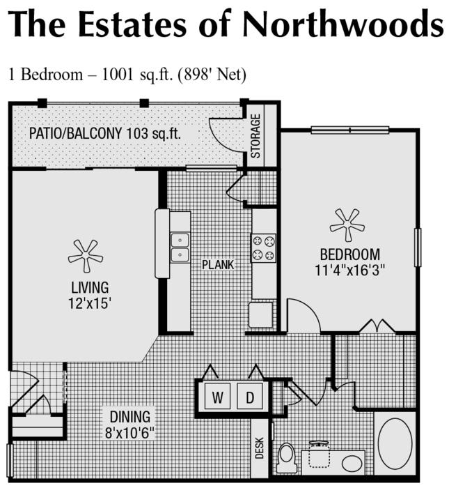 898 sq. ft. to 1,001 sq. ft. D floor plan