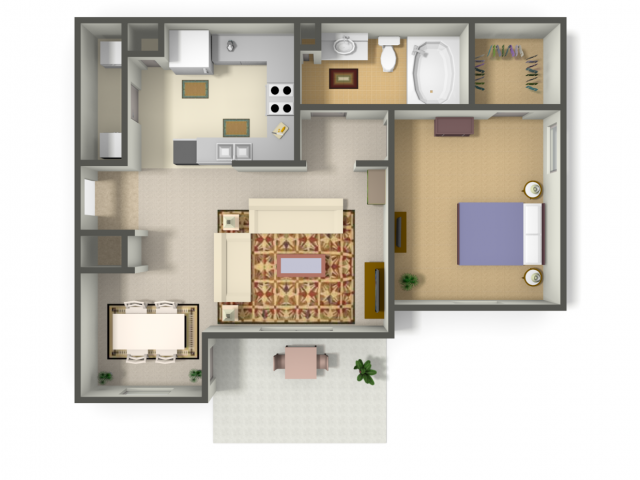 701 sq. ft. BELIZE (A2) floor plan