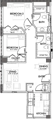 751 sq. ft. Texas 60% floor plan