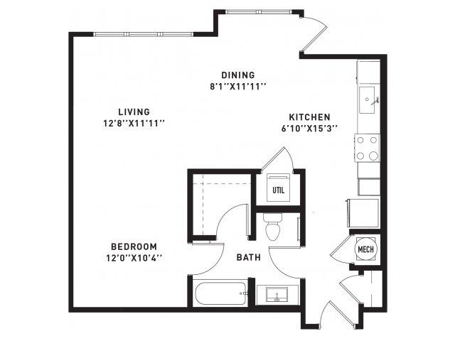717 sq. ft. E7 floor plan