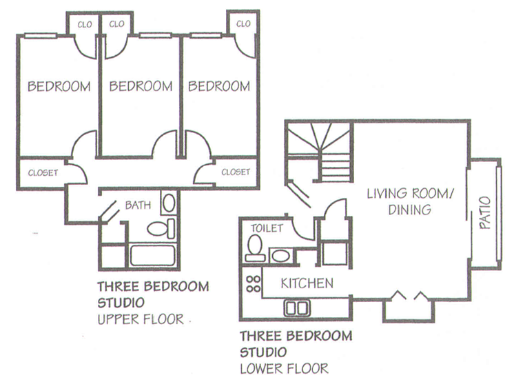1,052 sq. ft. C-1 floor plan