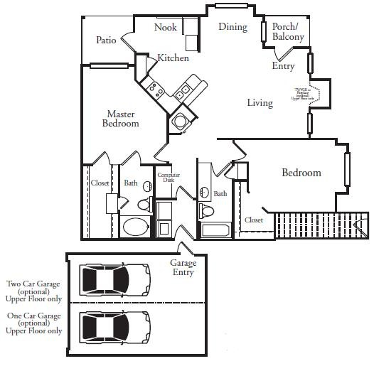 1,266 sq. ft. B1UG floor plan