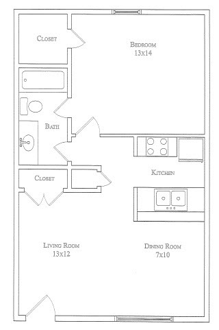 627 sq. ft. Blue Bonnet floor plan