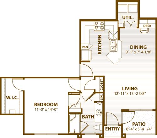 791 sq. ft. C1 50% floor plan