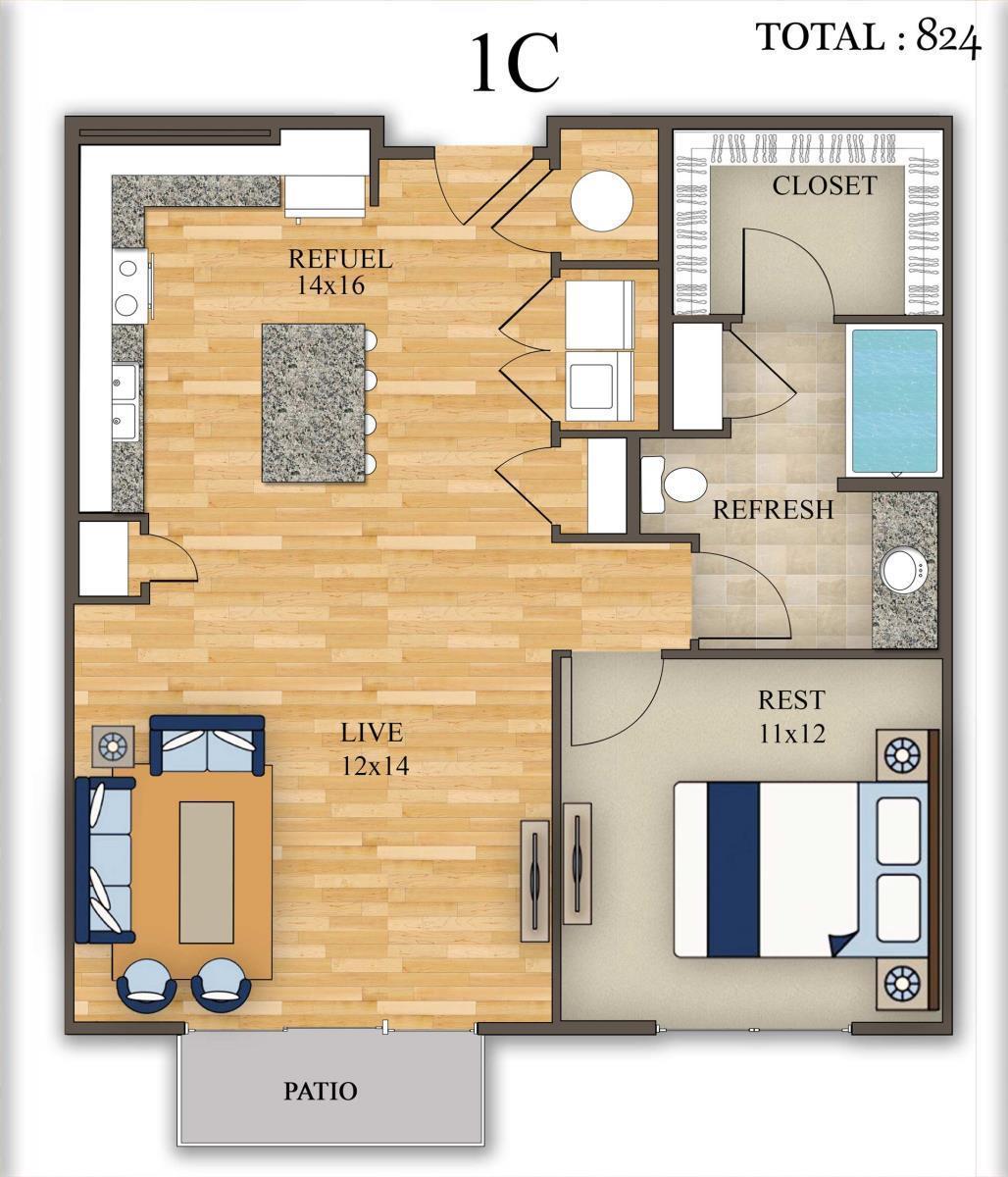 824 sq. ft. 1C floor plan