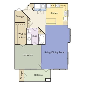 768 sq. ft. Ivanhoe - A1D II floor plan