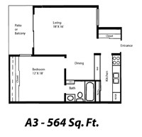 564 sq. ft. A3 floor plan