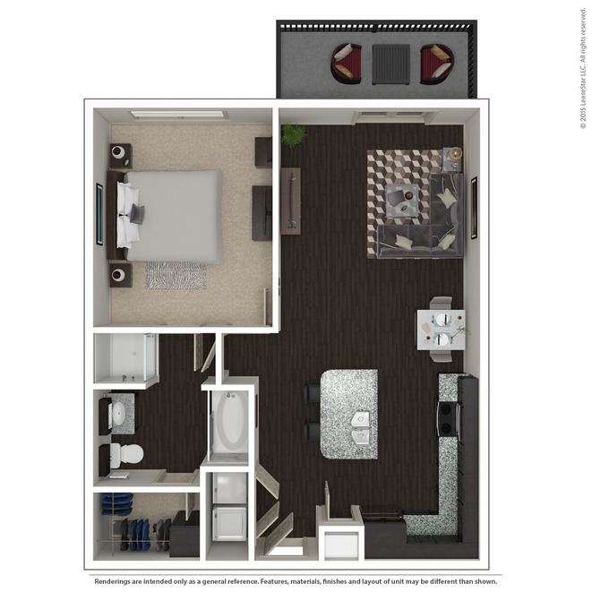 840 sq. ft. A2.3 floor plan