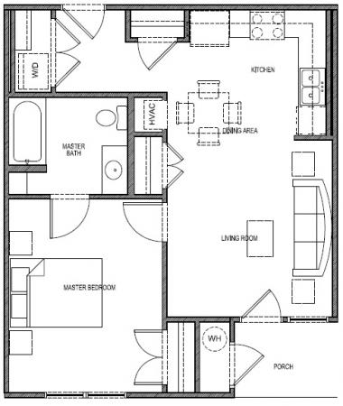 635 sq. ft. 60% - Sun floor plan