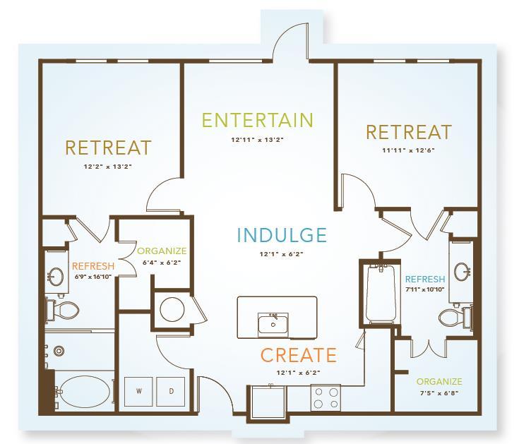 1,112 sq. ft. to 1,186 sq. ft. B2 floor plan