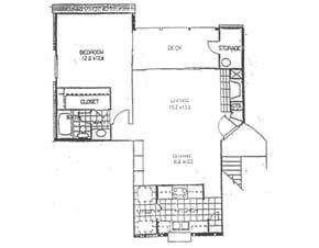 763 sq. ft. A floor plan