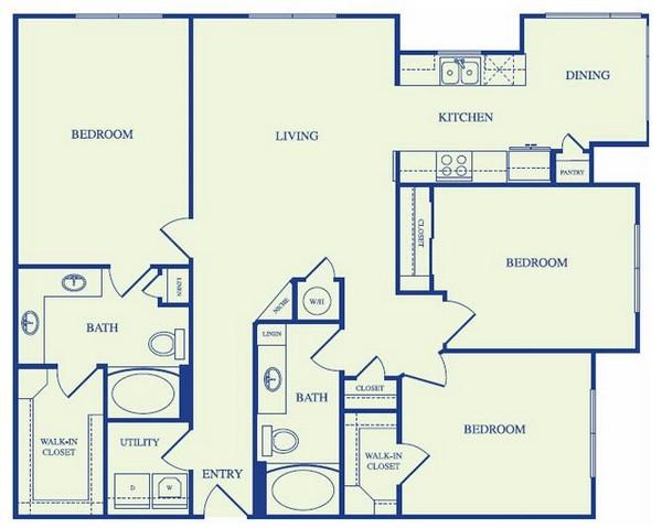 1,412 sq. ft. E1A floor plan