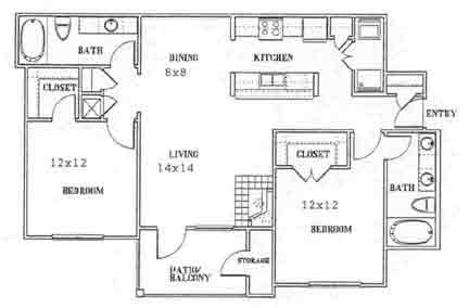 1,030 sq. ft. to 1,125 sq. ft. E floor plan