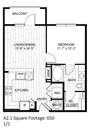 650 sq. ft. A2.1 floor plan