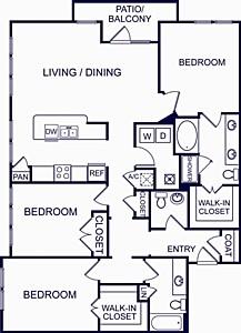 1,557 sq. ft. Valencia Five floor plan