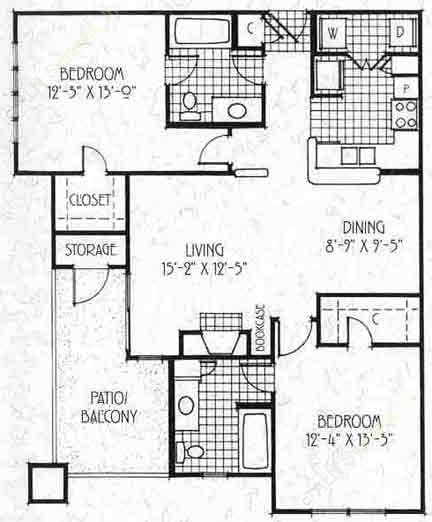 1,039 sq. ft. B3 floor plan