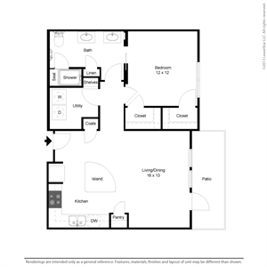 813 sq. ft. A2 floor plan