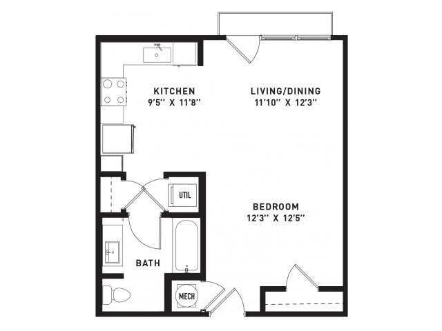 558 sq. ft. E3 floor plan
