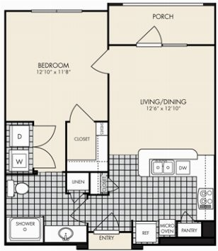 650 sq. ft. Salerno floor plan