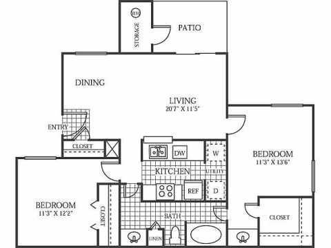 866 sq. ft. B1 floor plan