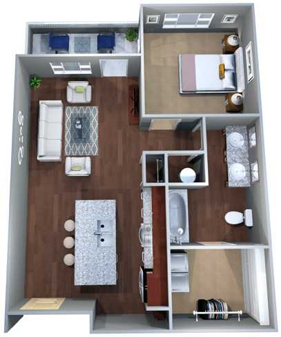 724 sq. ft. 1A floor plan