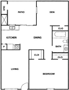 818 sq. ft. A2 floor plan