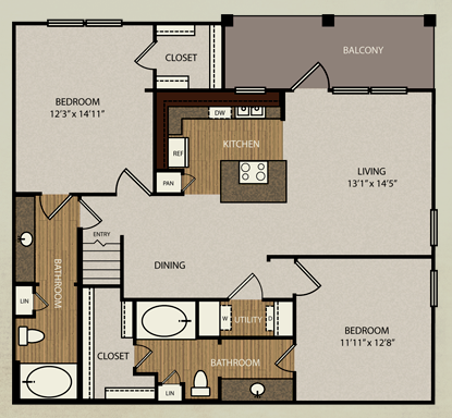 1,238 sq. ft. B4a floor plan