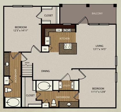1,238 sq. ft. B4a floor plan