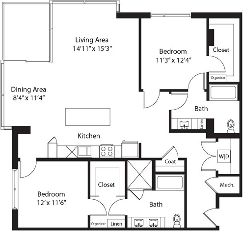 1,465 sq. ft. TB floor plan