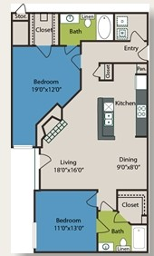 1,061 sq. ft. B3 floor plan