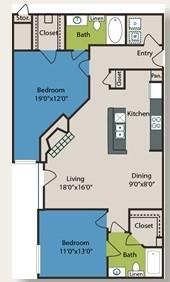 1,061 sq. ft. B3 floor plan