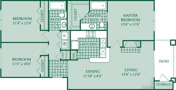 1,188 sq. ft. Versaill floor plan