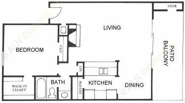 800 sq. ft. A7 floor plan