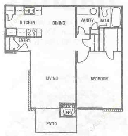 693 sq. ft. A-1 floor plan