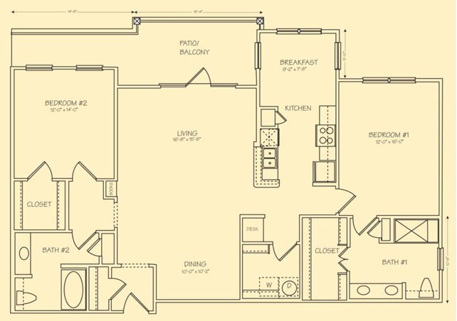1,465 sq. ft. B6 floor plan