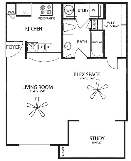 689 sq. ft. Austin floor plan
