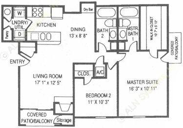 1,040 sq. ft. WT floor plan