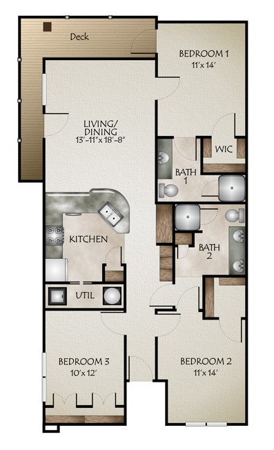 1,208 sq. ft. to 1,240 sq. ft. R GRANDE floor plan