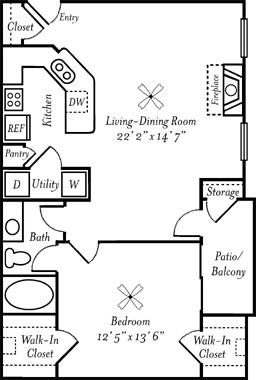 808 sq. ft. Sauvignon floor plan